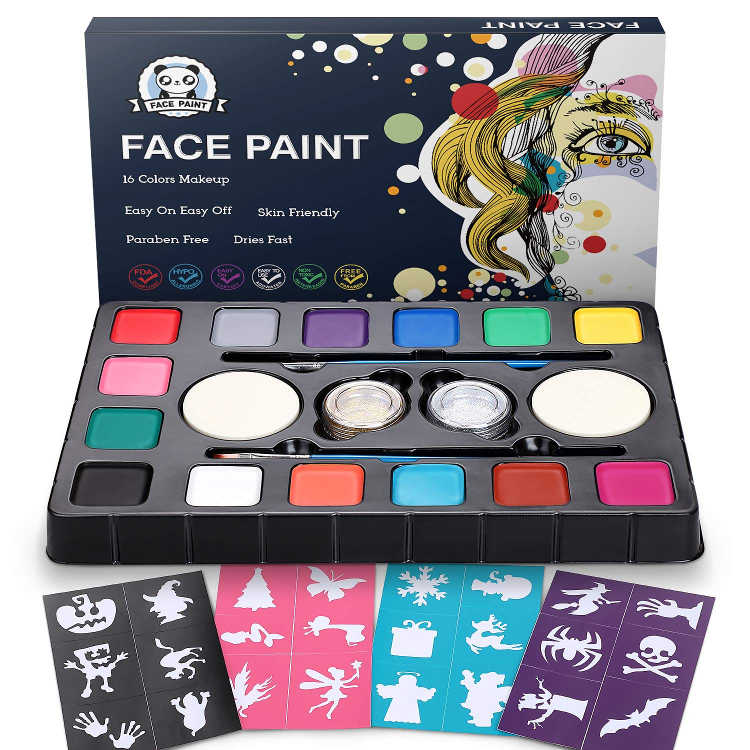 Dookey Face Paint Kit For Kids Professional Non Tocix Face Paint 14 Colors Kit With 2 Brushes 2 Sponges 2 Glitter 24 Stencils Body Makeup Paint Hypoallergenic Water Based Paints For Party Cosplay Buy