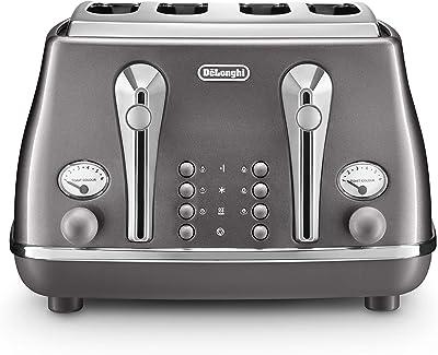 De'Longhi Icona Metallics, 4 Slice Toaster, Iridescent Grey, CTOT4003GY