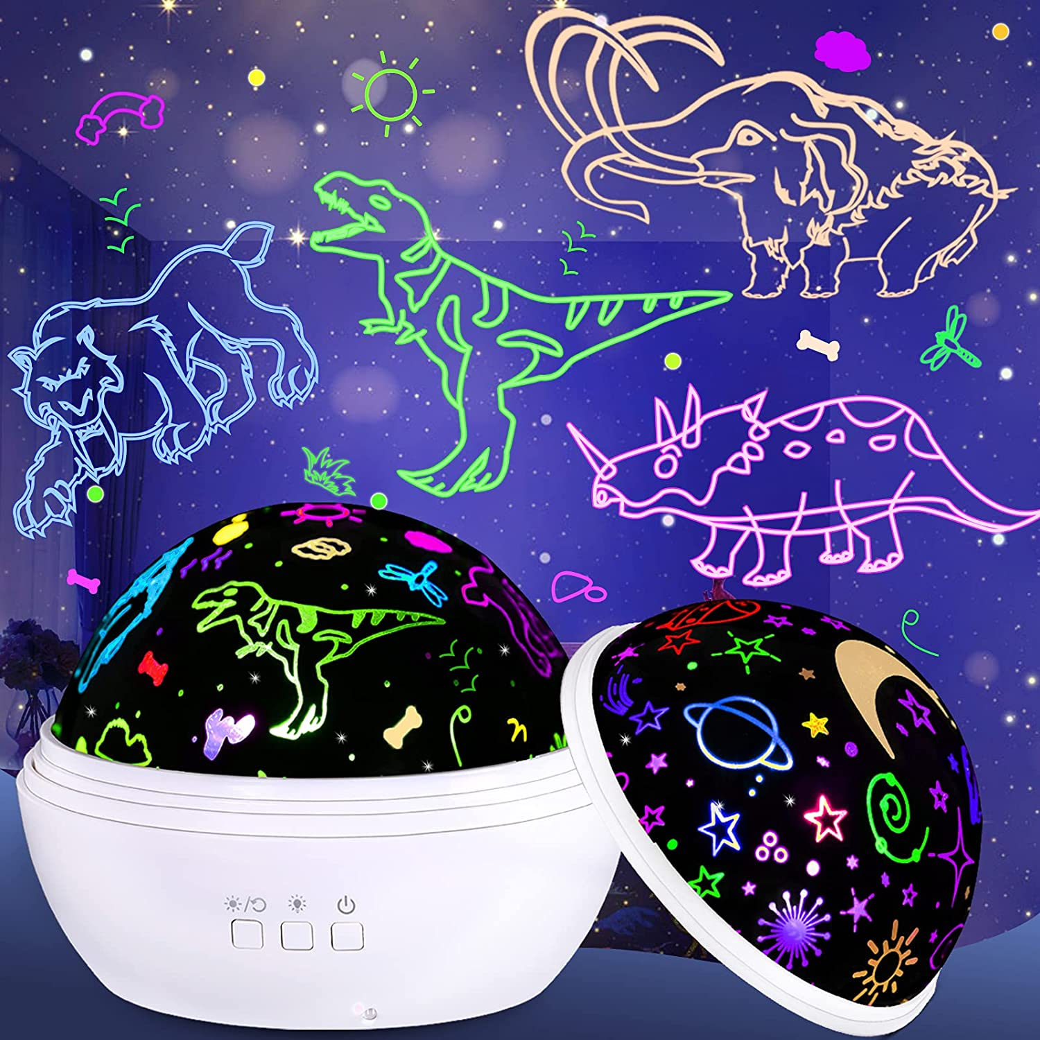 Dinosaur Toys Night Light Projector for Kids 3-5 Year Old Star Projector 360° Rotation with 9 Colors Mode Perfect Dinosaur Room Decor Birthday Gifts for 2-10 Year Old Boys and Girls