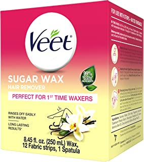VEET Sugar Wax Hair Remover - Perfect for First Time Waxers - Contains 12 Fabric Strips & 1 Spatula with a Temperature Ind...
