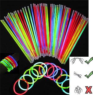 """100 8""""Glow Sticks Bracelets Necklaces Neon Colors & 100 Bracelets Connectors"""