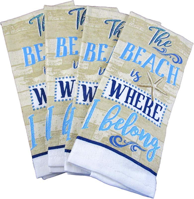 Capes Treasures Summertime Nautical 100 Cotton Dish Towels Set Of 4 The Beach Is Where I Belong