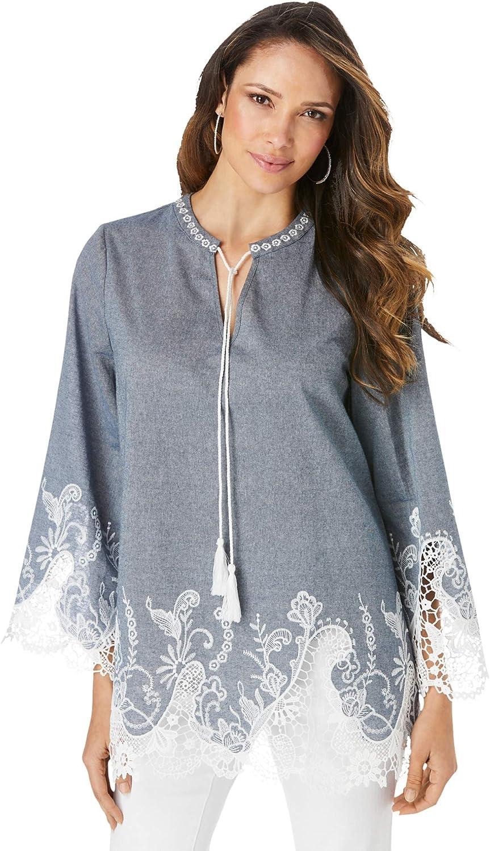 Roaman's Women's Plus Size Lace Chambray Tunic Long Shirt Blouse