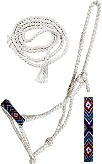 CHALLENGER Nylon Horse Western Western Rope Rope Braided Halter Lead w/Beaded Noseband 606RT21