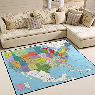 Naanle Educational Area Rug 5'x7', USA Political Road Map Polyester Area Rug Mat for Living Dining Dorm Room Bedroom Home Decorative