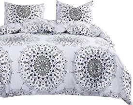 Wake In Cloud - Bohemian Comforter Set, Black Boho Chic Mandala Medallion Pattern Printed on White, 100% Cotton Fabric with Soft Microfiber Inner Fill Bedding (3pcs, Queen Size)