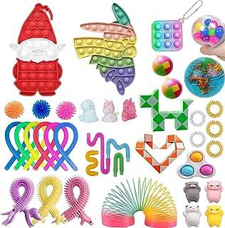 そわそわおもちゃパック、漫画の形をしたプッシュバブルがセットされた安いストレス解消と不安感覚のそわそわおもちゃ、子供大人のためのノベルティ誕生日パーティークリスマスストッキングギフトおもちゃ (マルチカラー, 39個-J)