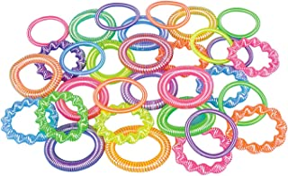 Rhode Island Novelty 12 ~ Plastic Coil Spring Bracelets ~ Assorted Colors / Shapes ~ New ~ Party Favors, Prizes, Play Jewelry