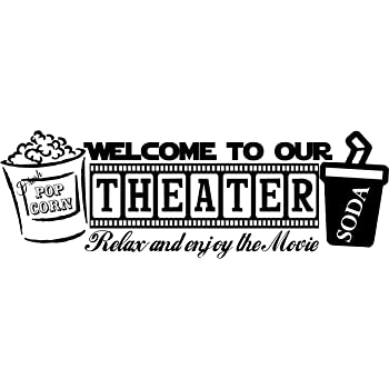 Amazon Com Walls With Style Welcome To Our Theater Popcorn Wall Art Decal Home Theater Movie Sticker Black Home Kitchen