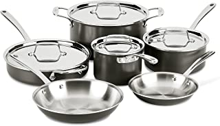 All-Clad LTD30010R Tr-ply Stainless Steel Hard Anodized Exterior Cookware Set, 10-Piece, Black
