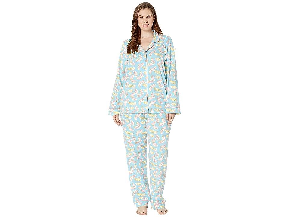 BedHead Pajamas Plus Size Long Sleeve Classic Notch Collar Pajama Set (Citrus) Women