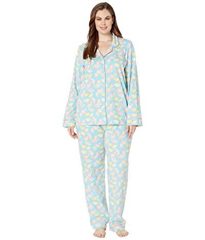BedHead Pajamas Plus Size Long Sleeve Classic Notch Collar Pajama Set (Citrus) Women