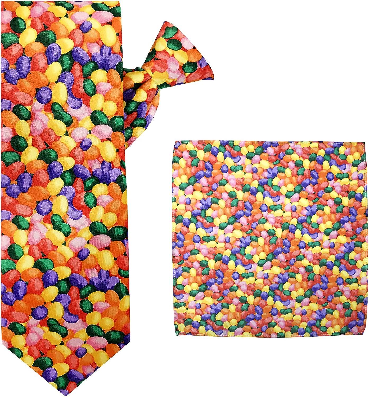 Jacob Alexander Men's Jellybean Candy Print Halloween Clip-On Neck Tie and Pocket Square Set