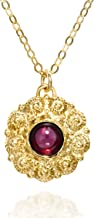 Exquisite Flower Pendant With Red Gemstone 14k Gold Plated Silver Necklace, 18