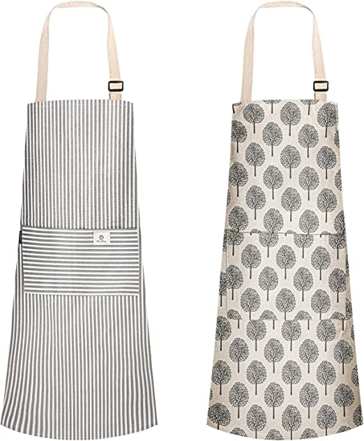 Urijk Apron for Women,2 Pack Cooking Kitchen Aprons,Adjustable Strap Long Tie Aprons with 2 Pockets for Men Women