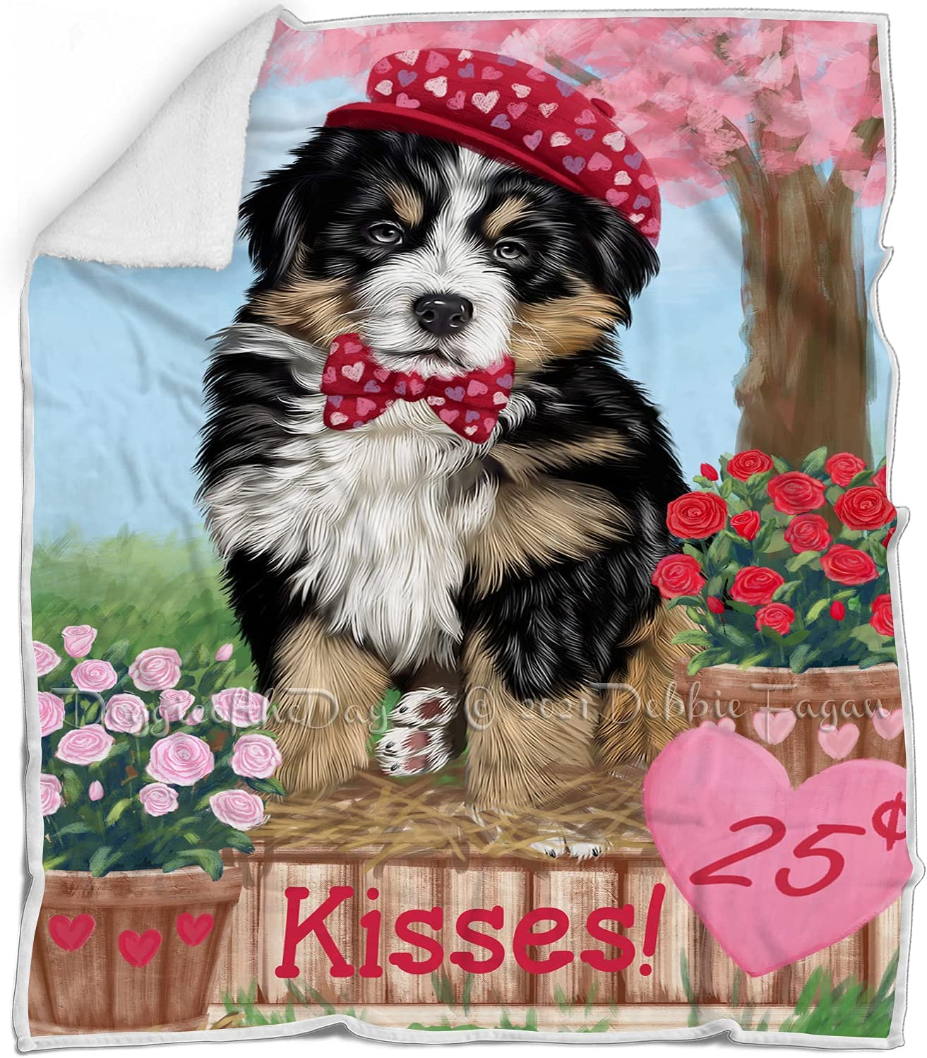 Rosie 25 Cent Kisses Bernese Mountain Raleigh Mall - Dog F Blanket Limited price Multicolor