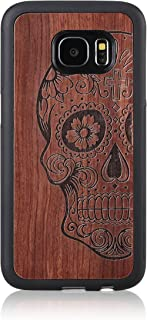 S7 Case,Galaxy S7 case,JuBeCo Wood Slim Case+TPU Bumper Samsung Galaxy S7 (Half Skull)