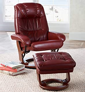 Kyle Ruby Red Faux Leather Ottoman and Swiveling Recliner