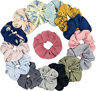 15 Pieces Chiffon Flower Hair Scrunchies Hair Ties Striped Hair bands Ponytail Holder Hair Accessories for Girl Women,15 Colors