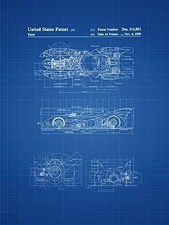 Framable Patent Art Original Ready to Frame Décor Vintage Batmobile Batman Superhero 18in by 24in Patent Art Poster Print Blueprint PAPSP81B