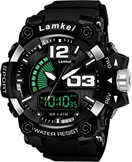 Lamkei Army Black Analouge Digital Black Silicon Strap Sport Watch for Men- CAH-1017