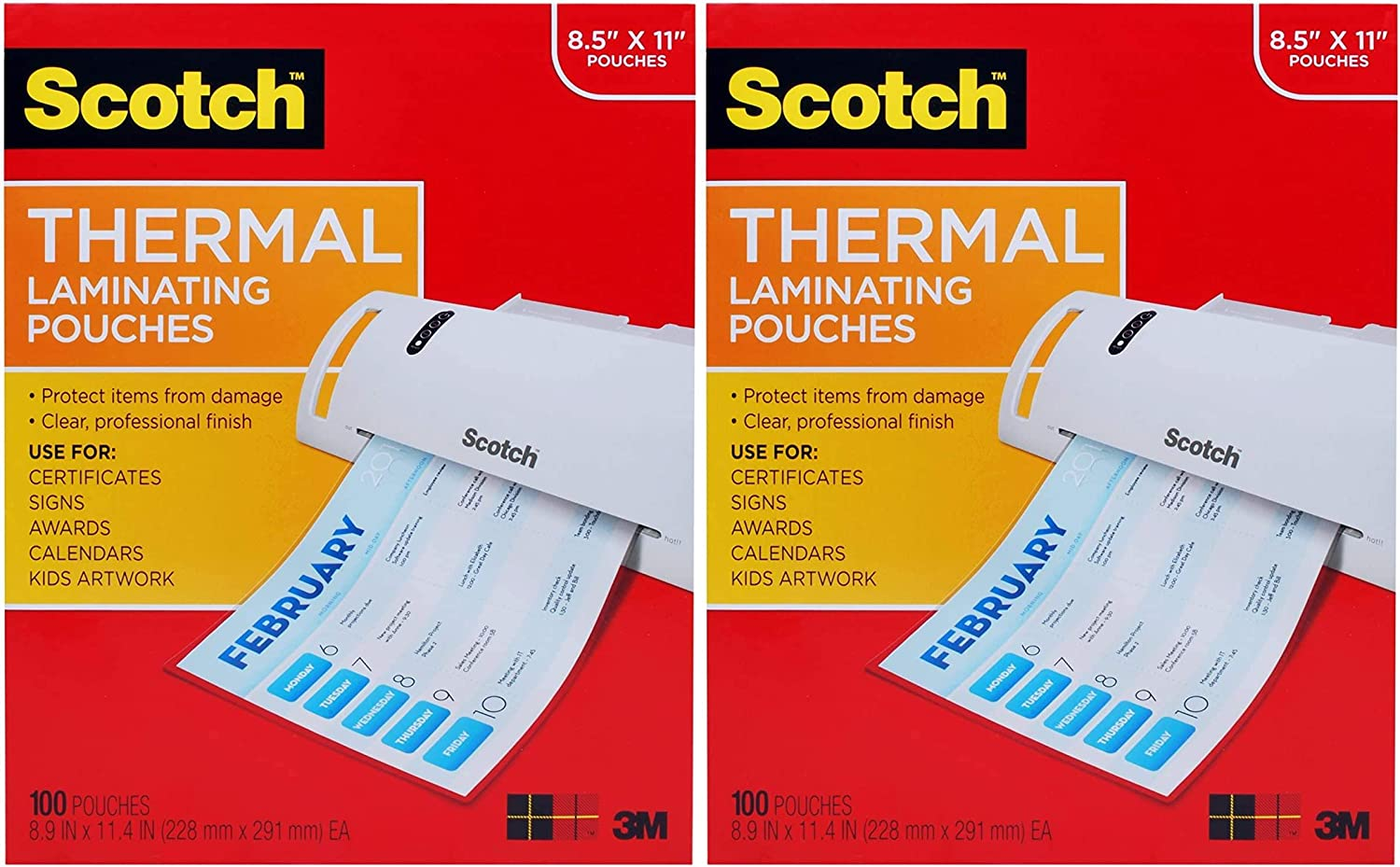 Letter Size Sheets 1 Pack 8.9 x 11.4 inches Scotch Thermal Laminating Pouches TP3854-100 100-Pack