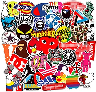COOLCOOLDE 100Pack Logo Brand Stickers Set Random Sticker Decals for Water Bottle Laptop Cellphone Bicycle Motorcycle Car Bumper Luggage Travel Case. Etc (Logo)
