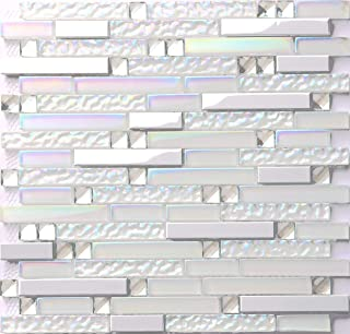 Hominter 11-Sheets Iridescent Glass Tile Backsplash, Silver Stainless Steel Metal Mosaic Tile, Rhinestone Crystal Bathroom and Kitchen Tiles NB01