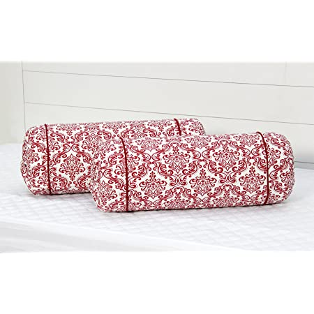 "AURAVE Cotton 144 TC Bolster Cover (15""x30""_Maroon)"