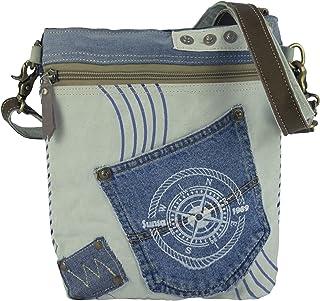 Sunsa Damen Taschen Umhängetasche Handtasche Canvas mit Jeans & Leder. Kleine Vintage Crossbody Tasche/bag Schultertasche,...