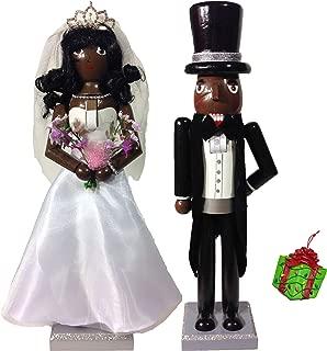 Distinctive Designs Large African American Bride & Groom Wedding Set Two Decorative Holiday Season Wooden Christmas Nutcracker & Bonus Tree Ornament