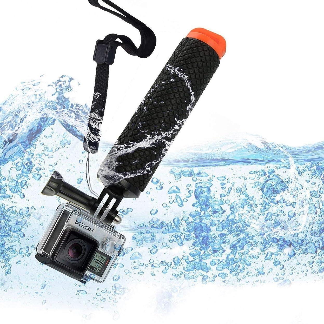 Gopro 浮力スポンジ フローティング スティック 一脚グリップ カメラグリップ ストレージ機能付き リストバンド付き 自撮り棒 フロートグリップ ネジ&腕ストラップ付き
