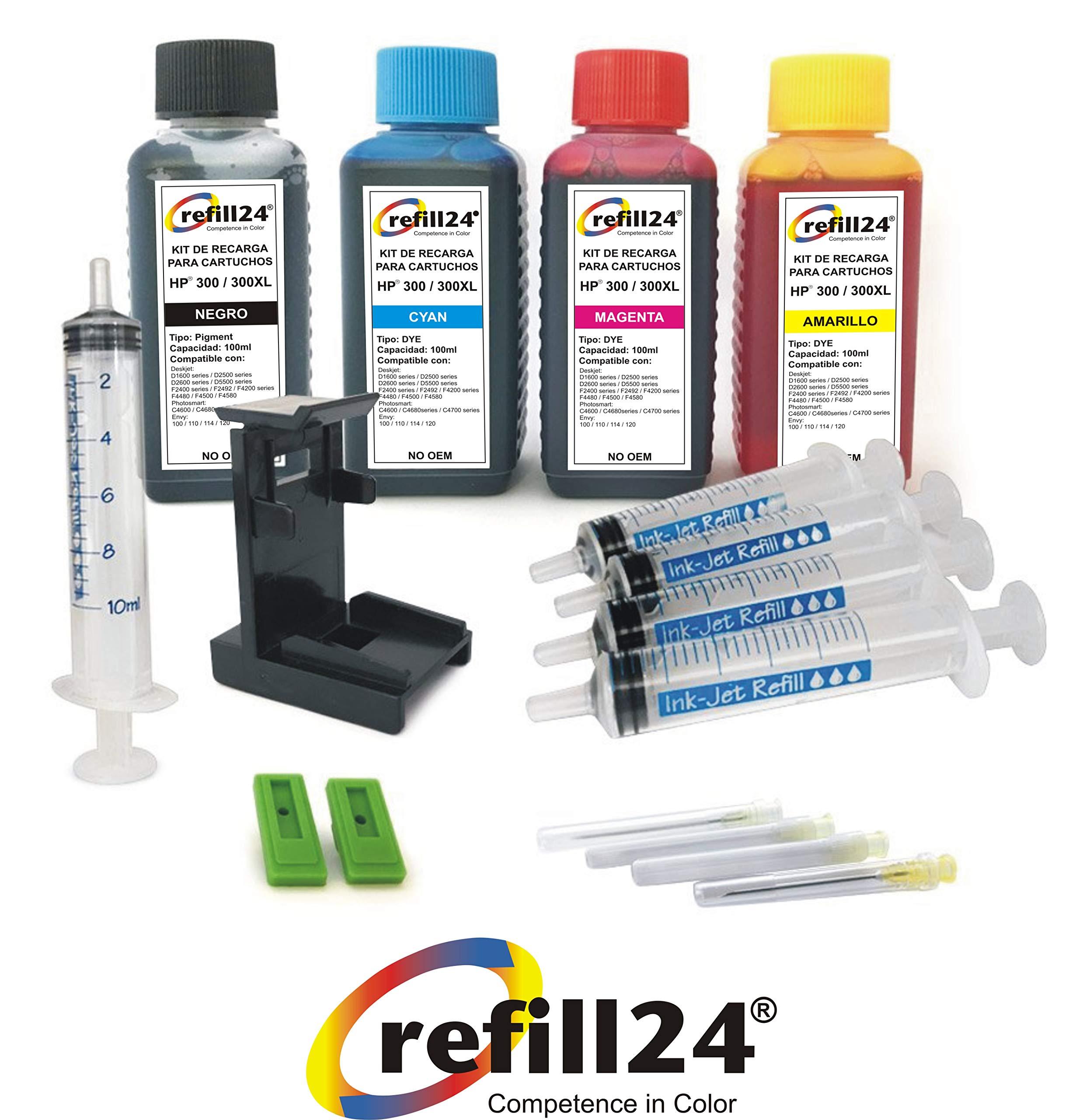 Kit de Recarga para Cartuchos de Tinta HP 300, 300 XL Negro y Color, Incluye Clip y Accesorios + 400 ML Tinta: Amazon.es: Electrónica