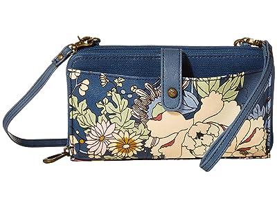 Sakroots Artist Circle Large Smartphone Crossbody (Denim Flower Power) Clutch Handbags
