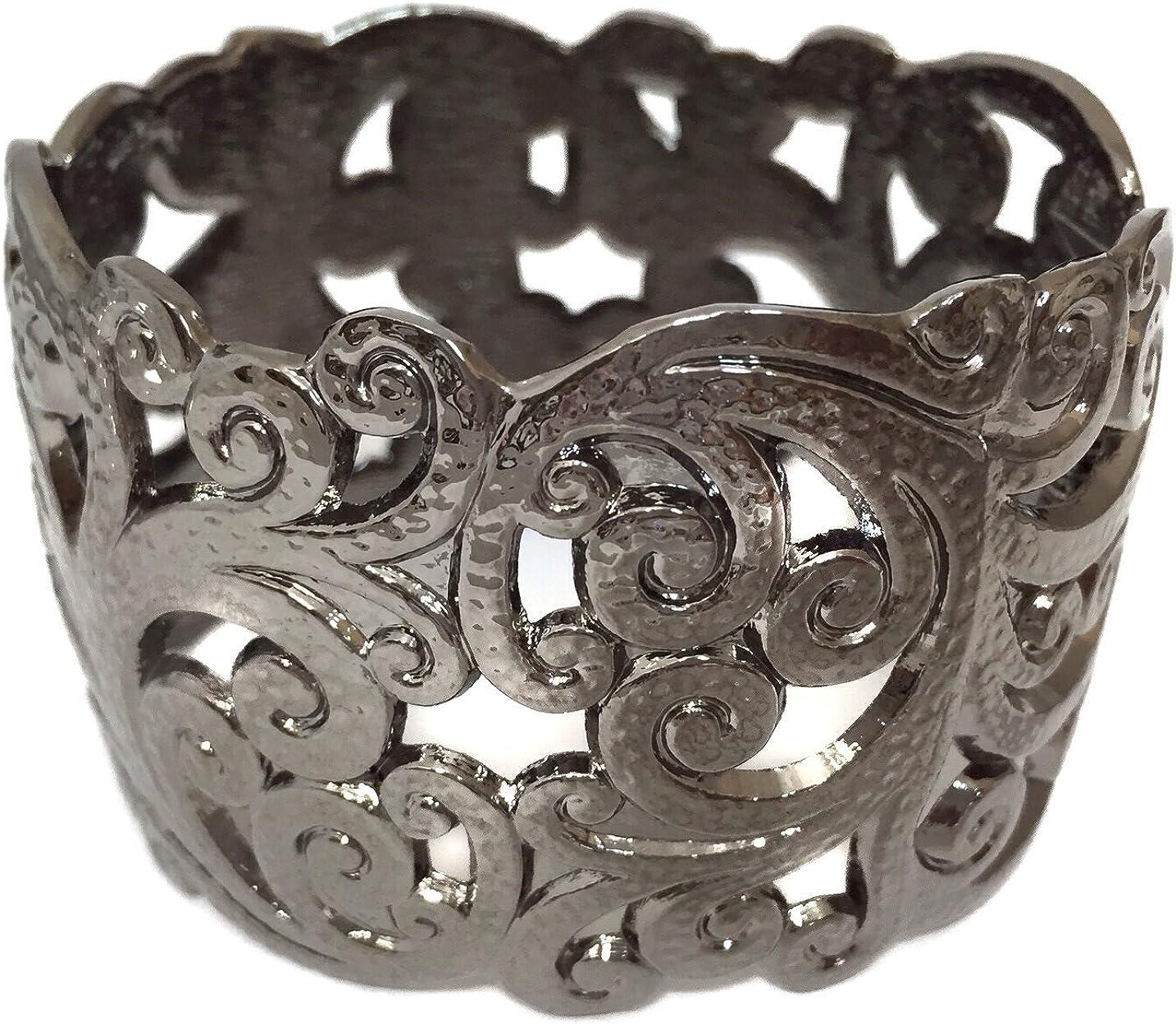 Gypsy Jewels Gun Metal Open Swirl Filigree Hinged Wide Bangle Bracelet