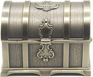 AVESON Rectangle Vintage Metal Treasure Chest Trinket Jewelry Box Gift Box Ring Case for Girls Ladies Women, Medium, Bronze