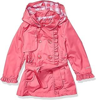 London Fog Girls' Little Lightweight Trench Dress Coat Jacket, Watermelon, 5/6