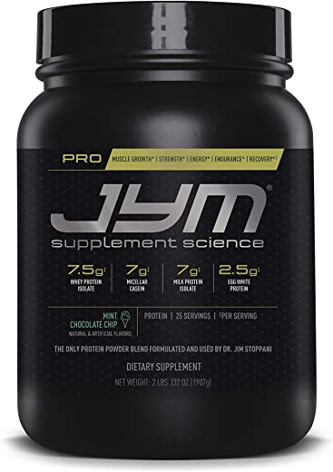 Pro Jym Protein Powder - Egg White, Milk, Whey protein isolates & Micellar Casein | JYM Supplement Science | Mint Chocolate Chip Flavor, 2 Lb