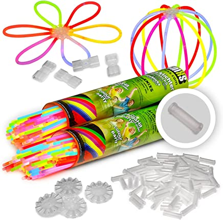 200Glow Sticks Knixs Includes 4x 200x 2D Connector Circle Beads 4x7mm Hole Connectors Professional Quality Colour Mix of 6, Medium Test (1.6