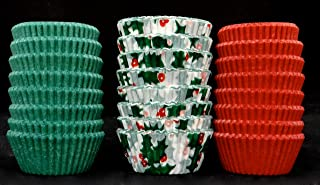 Candy Molds N More Assorted Christmas Candy Cups Size 5 Holly, Red, Green 200 each color/600 Total