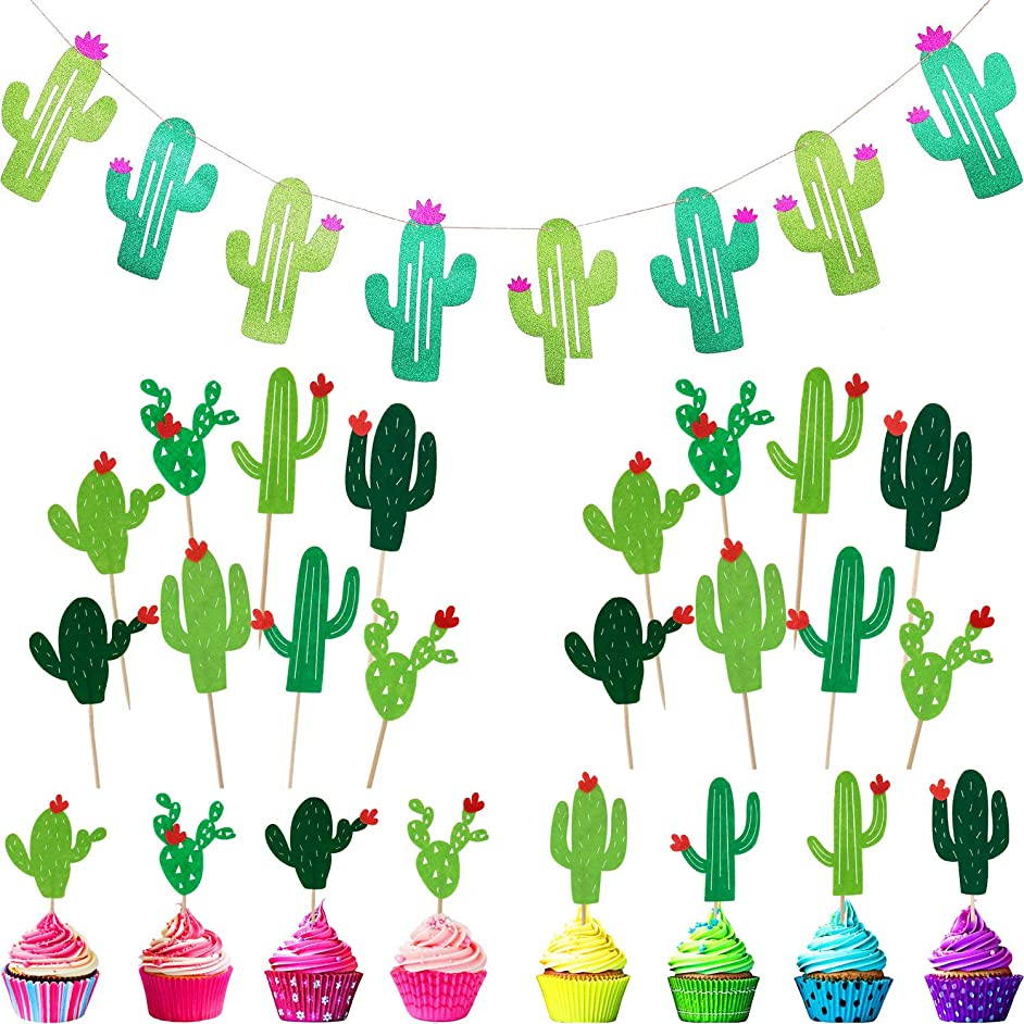 Cactus Party Decorations Cactus Banner, 24 Pieces Cactus Cupcake Toppers for Tropical Fiesta Luau Hawaii Party Supplies