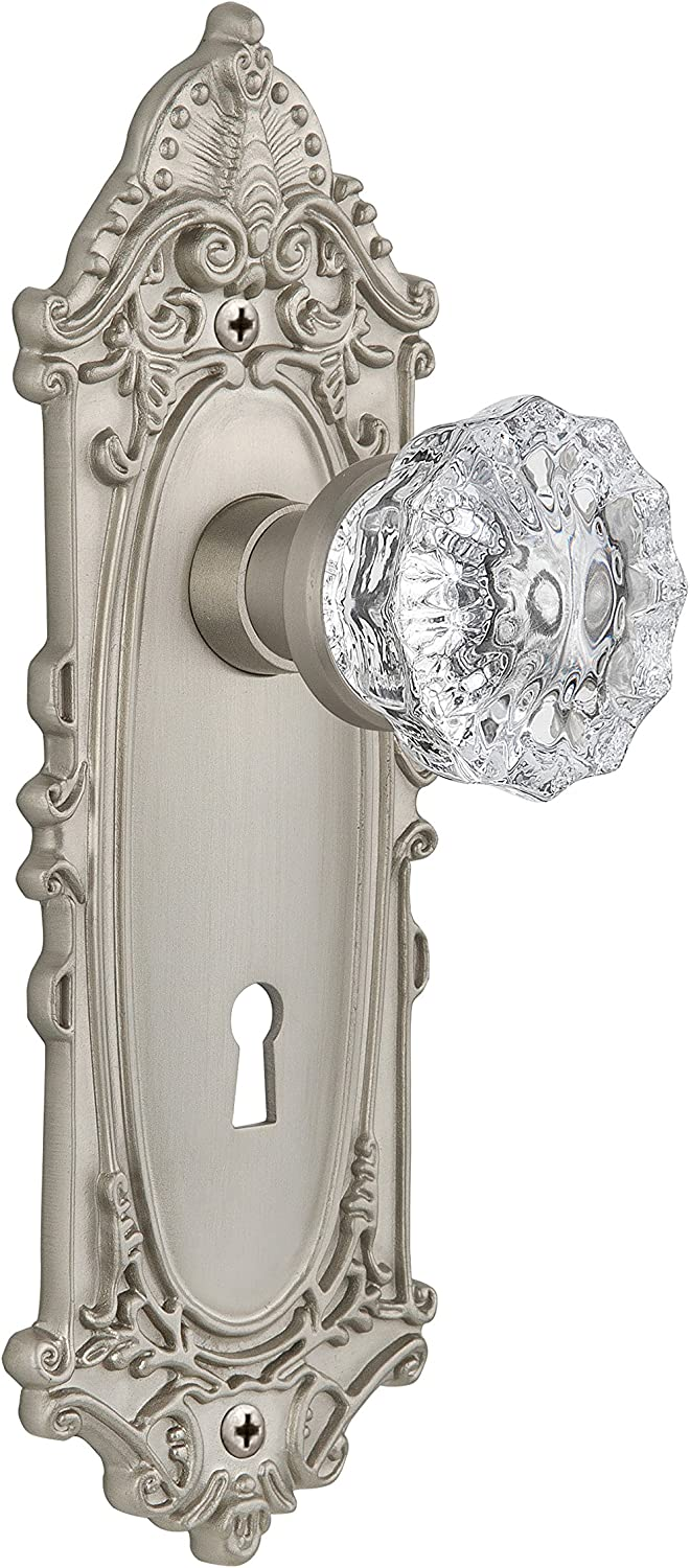 Satin Nickel Nostalgic Warehouse Victorian Plate with Keyhole Crystal Glass Knob 2.375 Privacy