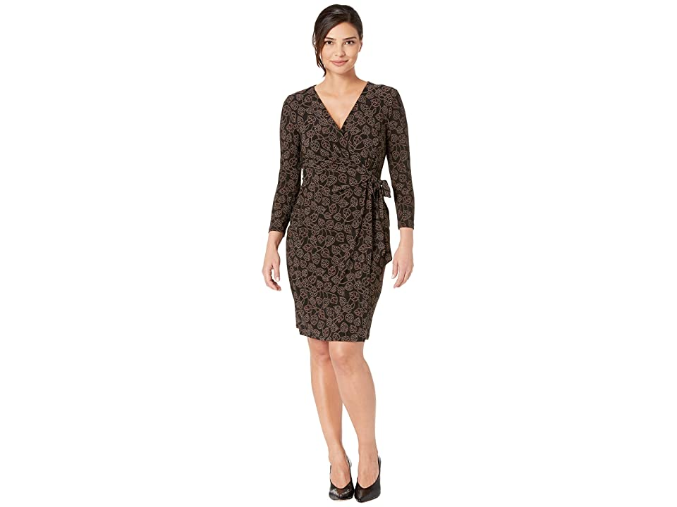 Anne Klein Trieste Faux Wrap Dress (Anne Black/Havana Combo) Women