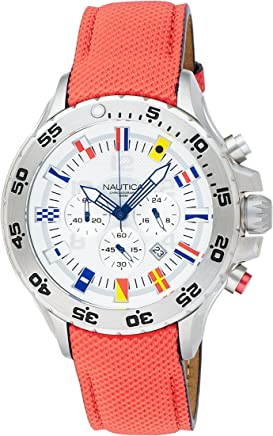Nautica Mens N16532G NST Chronograph Red Polyurethane Watch