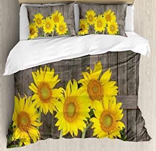 Ambesonne Sunflower Decor Duvet Cover Set, Helianthus Sunflowers Against Weathered Aged Fence Summer Garden Photo Print, 3 Piece Bedding Set with Pillow Shams, Queen/Full, Brown Yellow