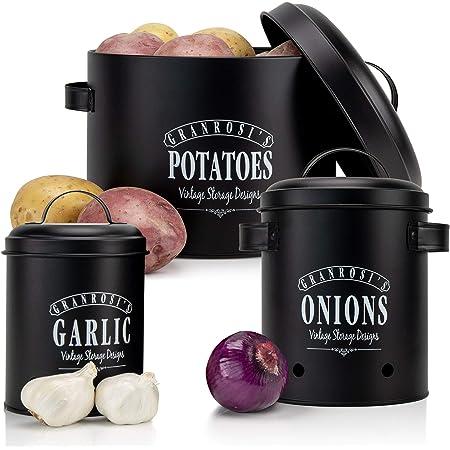 Granrosi Set de boîtes de conservation, pot de pommes de terre, d'oignons et d'ail, au design vintage, pour un rangement élégant et une longue conservation.