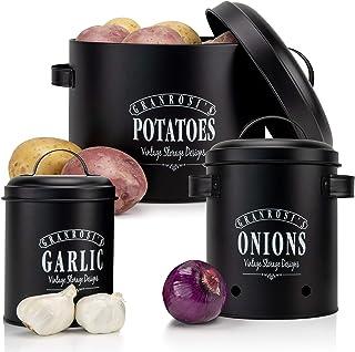 Granrosi Vorratsbehälter Set - Kartoffeltopf, Zwiebeltopf und Knoblauchtopf im Vintage Design für eine stilvolle Aufbewahr...