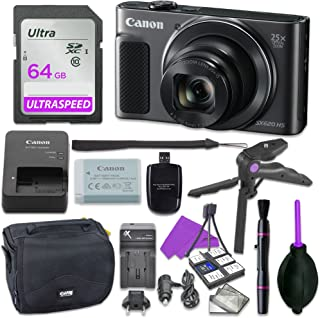 Canon Powershot SX620 Point & Shoot Digital Camera Bundle w/Tripod Hand Grip, 64GB SD Memory, Case and More (Black)
