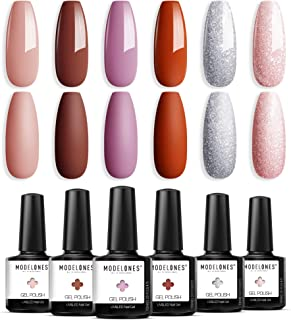 Gel Nail Polish Nude Red Pink Glitter Holiday Gel Polish 6 Colors 10 ML 0.34 OZ Soak Off Sweet Cute Color Nail Gel Polish with Beauty Gift Set Box for Nail Starters Home Use by Modelones