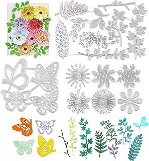 3 Ensembles Matrices de Découpe Scrapbooking 19PCS Cutting Dies Forme Feuilles Fleur Papillon DIY Carte Papier Bricolage O...